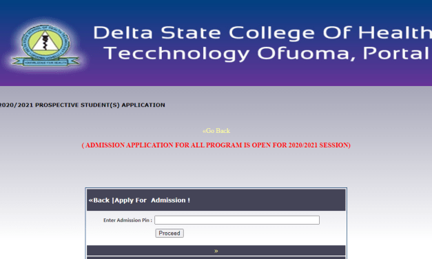 Delta College of Health Technology Ofuoma Admission Form 2020/2021