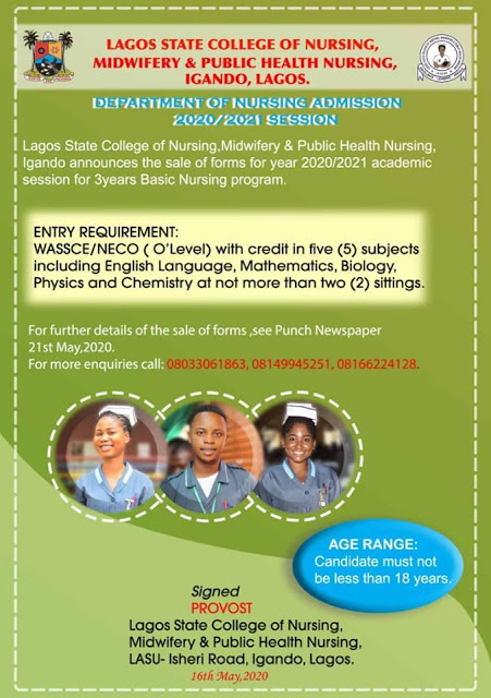 LASON Admission Form 2020 2021 insideschool - Lagos State College of Nursing Admission Form 2020/2021 Announced