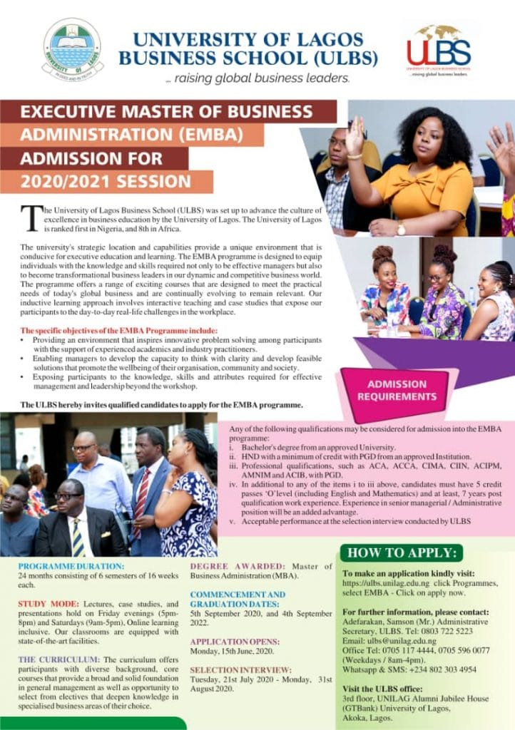 Executive Master of Business Administration advert on Insideschool - UNILAG Business School Executive MBA Admission Form for 2020/2021 Academic Session