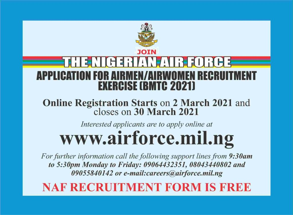 Nigerian Air Force Recruitment 2021 1 1024x754 - Nigerian Air Force Recruitment 2021 & How to Apply for BMTC