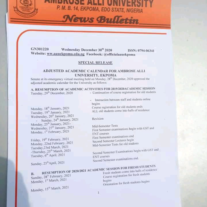 AAU RESUMPTION - Ambrose Alli University (AAU) Ekpoma Senate Approved Academic Calendar for 2020/2021 Academic Session [REVISED]