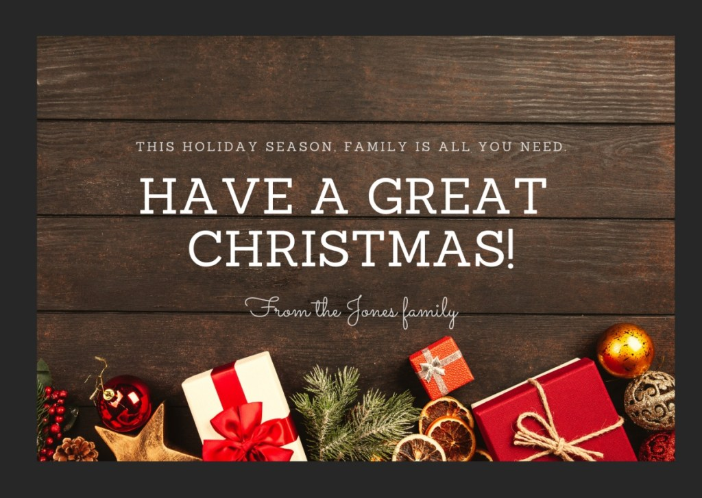 Red Black Ribbon Photo Christmas Card 1024x727 - Merry Christmas 2020: Greetings images, SMS, Messages, Quotes for Instagram , WhatsApp, Facebook status