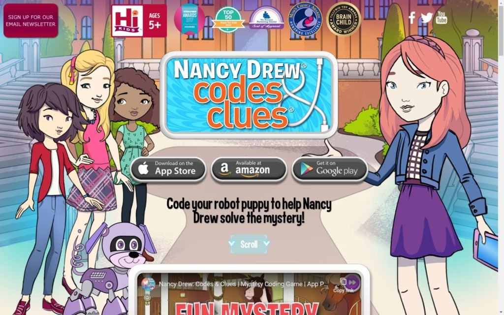 www.nancydrewcodesandclues.com Laptop with HiDPI screen 1024x640 - Top 20+ Best Coding Apps for Kids and Teenagers [Free/ Paid]