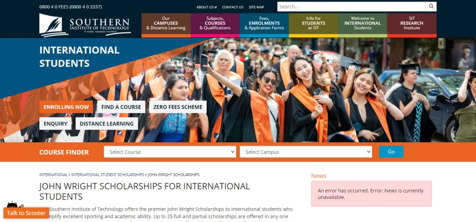 John Wright International Sports Scholarships 2021 - John Wright International Sports Scholarships 2021 at Southern Institute of Technology – New Zealand