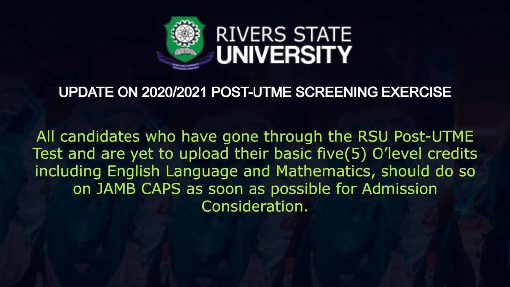 RSU Admission list 2021 - Rivers State University (RSUST) Admission List For 2020/2021 Academic Session is Out