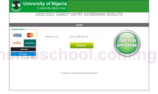 University of Nigeria Nsukka (UNN) Direct Entry Screening Result for 2020/2021 Checker Activated