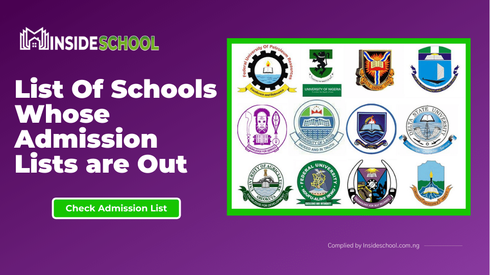 List Of Schools Whose Admission Lists are Out 1 1 - List Of Schools Whose Admission Lists is Out for the 2020/2021 Academic Session