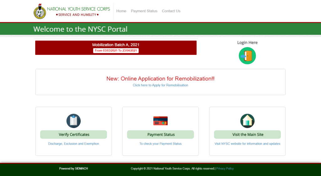 nysc portal 1024x561 - NYSC Online Registration Guide and Requirements for 2021 Batch 'A' Stream II [UPDATED]