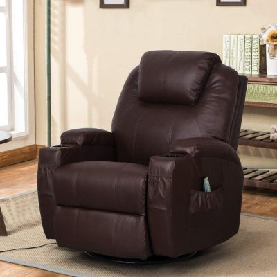Esright Coffee Fabric Massage Recliner Chair