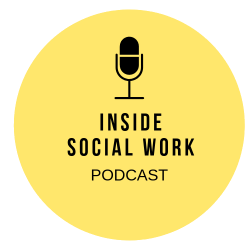 microphone in yellow circle with words saying inside social work podcast