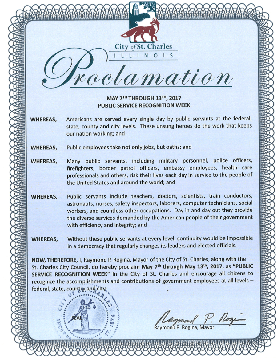 Public Service Recognition Week 2017 Proclamation