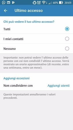 impostazioni ultimo accesso su Telegram 2