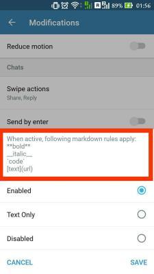 Telegram X-markwdown