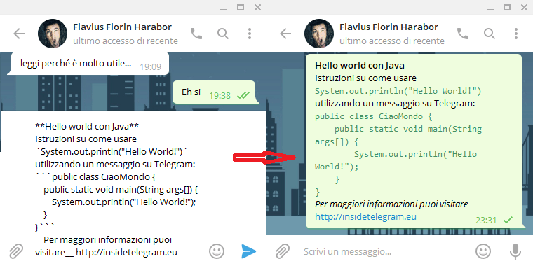 formattare il testo in una chat di telegram