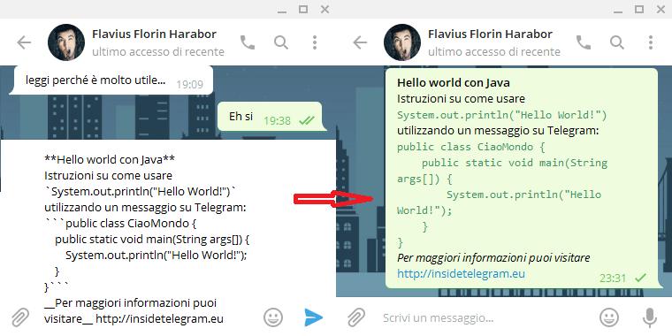 formattare il testo in una chat di telegram