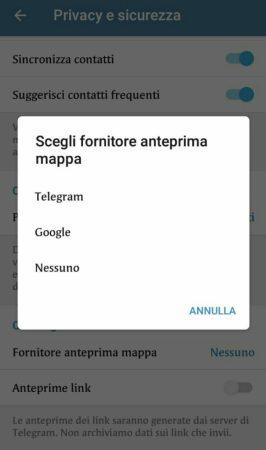 telegram 4.9 anteprima mappa chat segrete