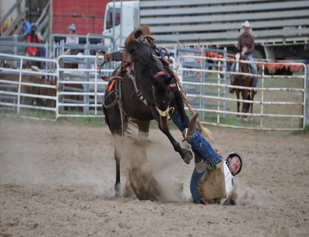 A cowboy wearing jeans and brown boots has fallen off a brown horse. The front legs of the horse are in the air, and the cowboy is to the right of the horse. This is happening on a dirt field with metal fences. There is another cowboy behind the fence wearing something similar and a white cowboy hat.
