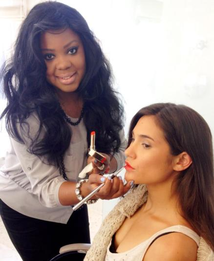 Celebrity Makeup Artist and Beauty Expert Brandy Gomez-Duplessis doing makeup for ENEWS and L'OREAL Paris