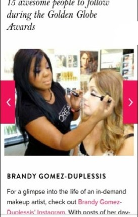 Sephora Connecticut Makeup Artist Brandy Gomez-Duplesssis for Golden Globes Awards