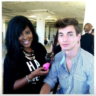 Celebrity Makeup Artist Brandy Gomez-Duplessis prepping male model using Evolution Man skincare