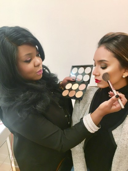 Connecticut Makeup Artist BrandyGomez-Duplessis teaching Contour makeup class