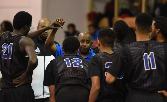 FT. WASHINGTON, MD - JANUARY, 10:  Capitol Christian head coach Van Whitfield talks with his team during a timeout against National Christian on January 10, 2015 in Ft. Washington, MD. (Photo by Jonathan Newton / The Washington Post)
