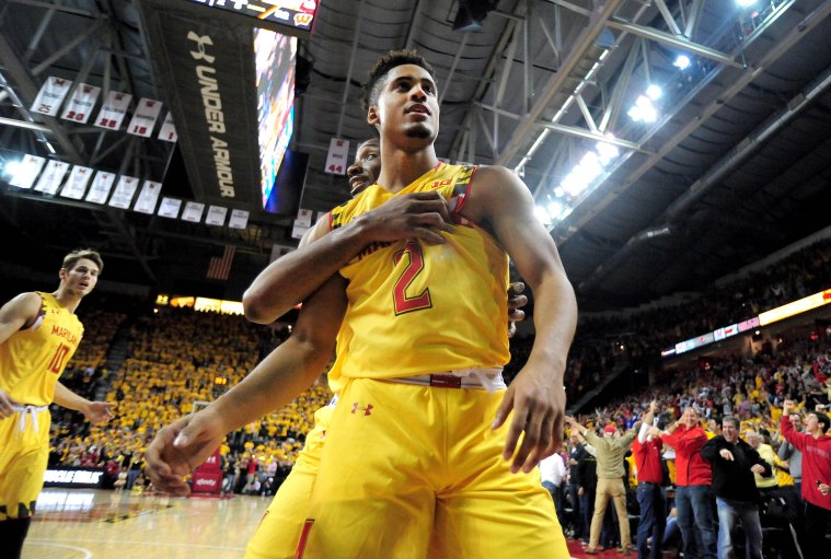 Feb 24, 2015; College Park, MD, USA; Maryland Terrapins guard Melo Trimble (2) reacts after making a basket in the second half against the Wisconsin Badgers at Xfinity Center. Mandatory Credit: Evan Habeeb-USA TODAY Sports