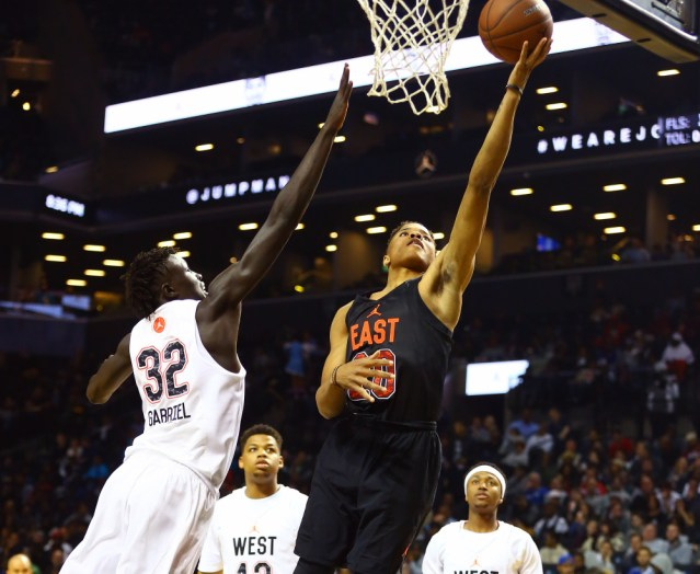 4/15/2016 8:00PM -- New York, NY, U.S.A -- East Team guard Markelle Fultz (20) goes up for a shot while being defended by West Team forward Wenyen Gabriel (32) during the first half of the Jordan Brand Classic Boys National Game at Barclay's Center.-- Photo by Andy Marlin-USA TODAY Sports Images, Gannett ORG XMIT: US 134691 Jordan hoops 4/15/2016 [Via MerlinFTP Drop]