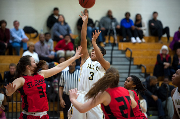 Girls' basketball game between WCAC rivals No. 2 Paul VI and No. 3 St. John's