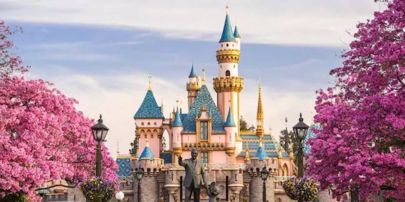 Sleeping Beauty Castle With Walt Disney And Mickey Statue