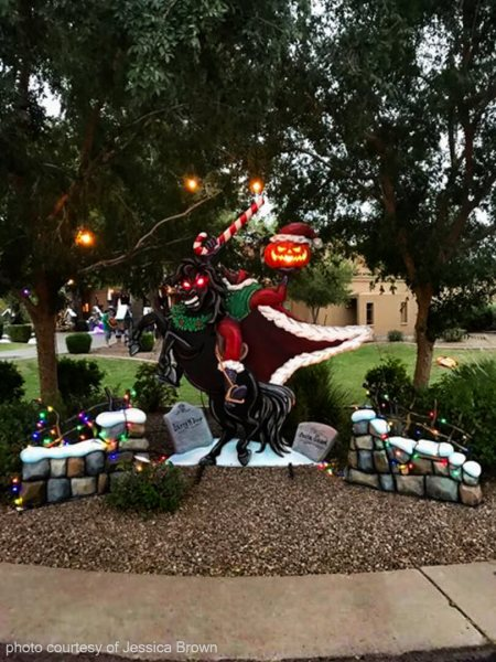 jessica advised we basically sat down with them and crafted up this monster housenightmare before christmas design and they built and installed - Nightmare Before Christmas Lawn Decorations