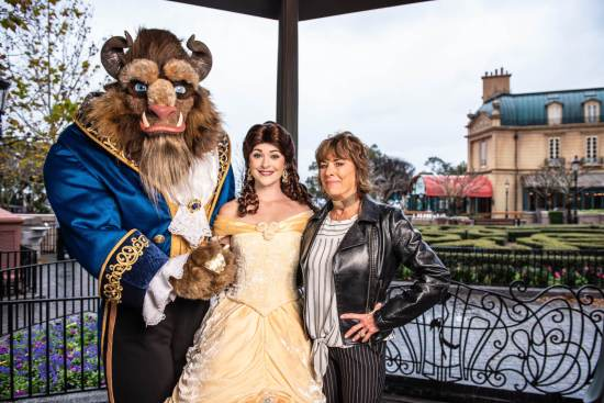 Paige O'Hara at Epcot with Belle and Beast