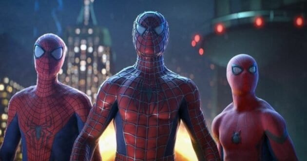 """Tobey Maguire, Andrew Garfield and Tom Holland in """"Spider-Man: No way home"""" (2021)"""