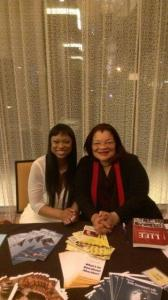 Anita Jarrell-Robertson meets with Alveda King during a fundraising banquet  for Women's Health Center in Baton Rouge on March 1.