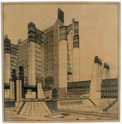 Antonio Sant'Elia, Casamento con ascensori esterni (...), inchiostro e matita su carta, dim. cm 52,5 x 51,5, Como, Musei civici