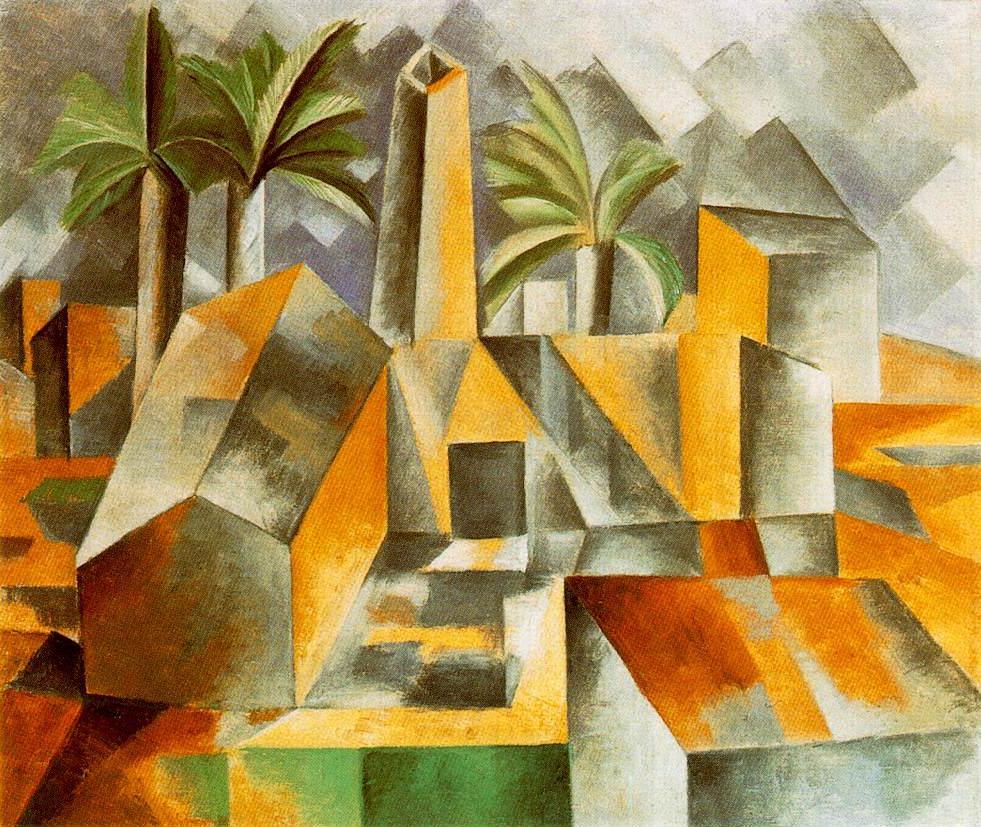 Pablo Picasso, Fabbrica a Horta ed Ebro, 1909, olio su tela, dim. cm 53 x 60 San Pietroburgo, Ermitage