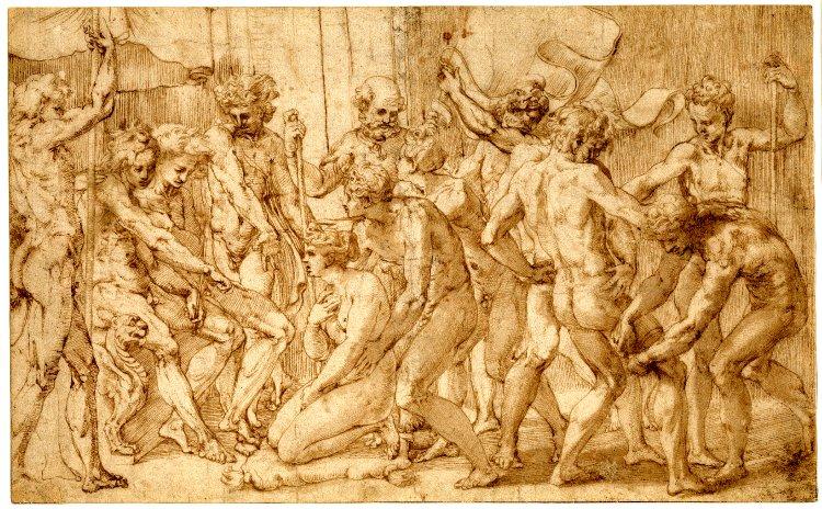Perin del Vaga, disegno di una donna inginocchiata tra una folla