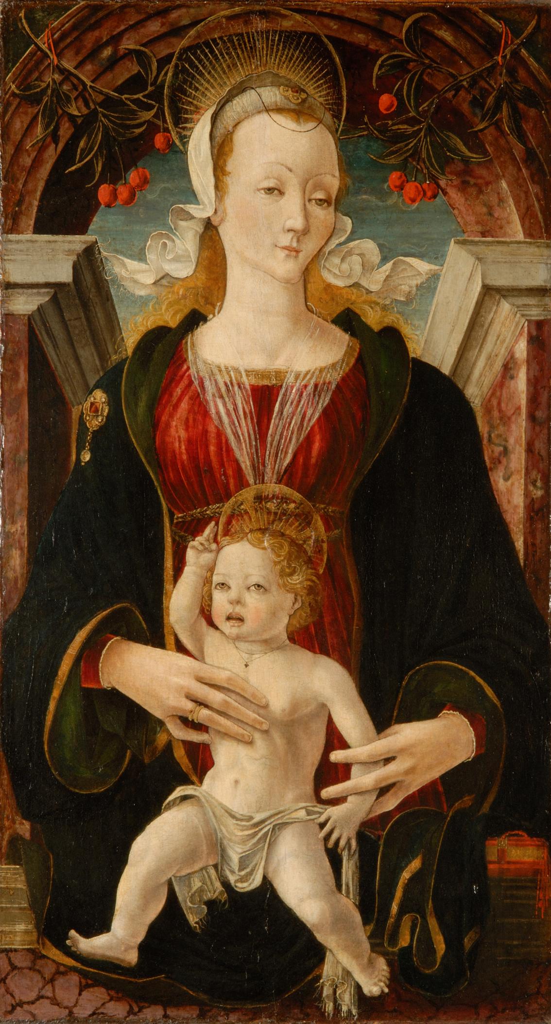 Maestro dell'agosto di palazzo Schifanoia, Madonna delle Ciliegie, tempera su tavola, 1470 circa, Musei Reali di Torino
