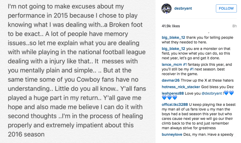 Cowboys Blog - Dez Bryant Posts Message To Fans On Instagram