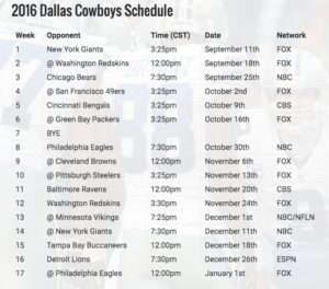 Cowboys Headlines - Dallas Cowboys 2016 Schedule Analysis 1