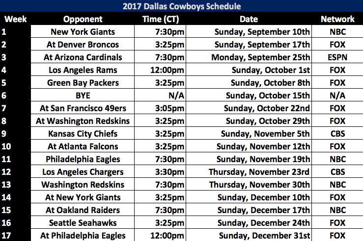 2017 Dallas Cowboys Schedule Released