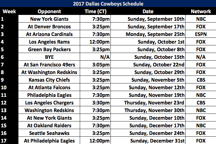 Dallas Cowboys 2020 Schedule.2017 Dallas Cowboys Schedule Released