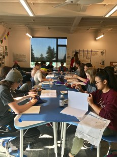 Eighth graders have been working on Oral History Books in connection to their study of WWII. They interviewed individuals who lived through the time period and have created books in their honor.