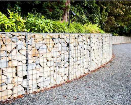 34 Fabulous Gabion Fence Design for Garden Landscaping Ideas