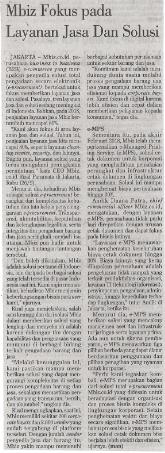 Investor Daily, Mbiz Fokus Pada Layanan Jasa Dan Solusi , 27-9-2018