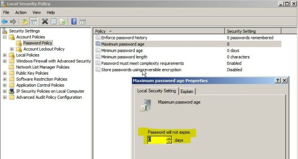 windows server disable password expiration policy