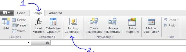 existing connection design tab of powerpivot model