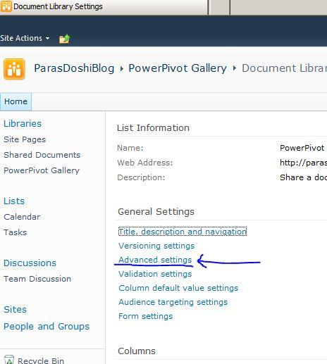 Power Pivot Document library advanced settings
