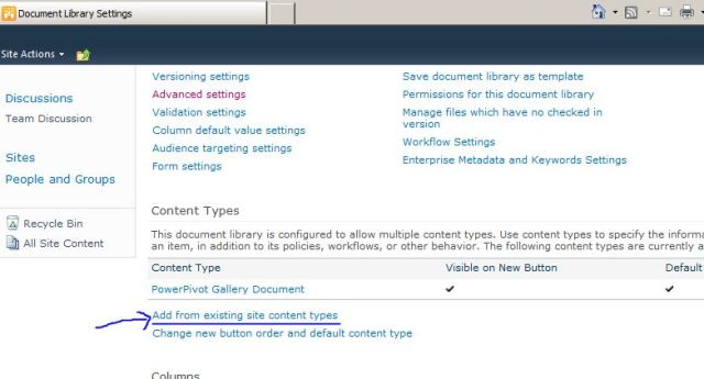Power Pivot document library setting BISM