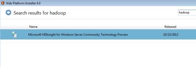 install hadoop windows via web platform installer
